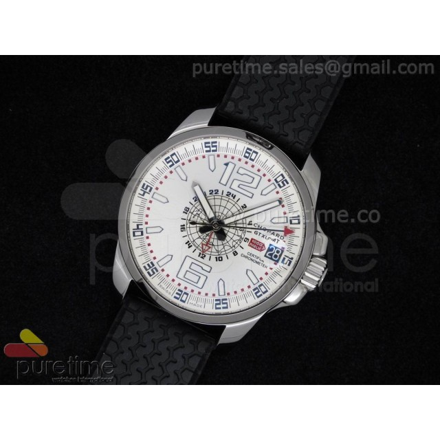 Cheap Discount Replica Mille Miglia GMT White Dial on Black Rubber Strap A23J