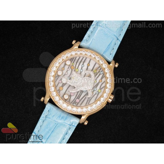 Cheap Discount Replica Happy Sports 150th Anniversary Animal World 42mm RG Cat Dial on Blue Leather Strap Ronda Quartz