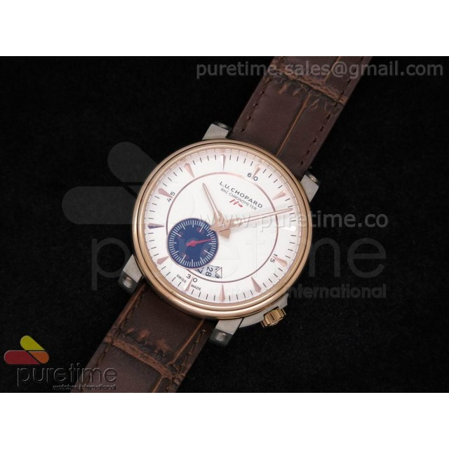 Cheap Discount Replica LUC 8HF RG White Dial on Brown Leather Strap A23J