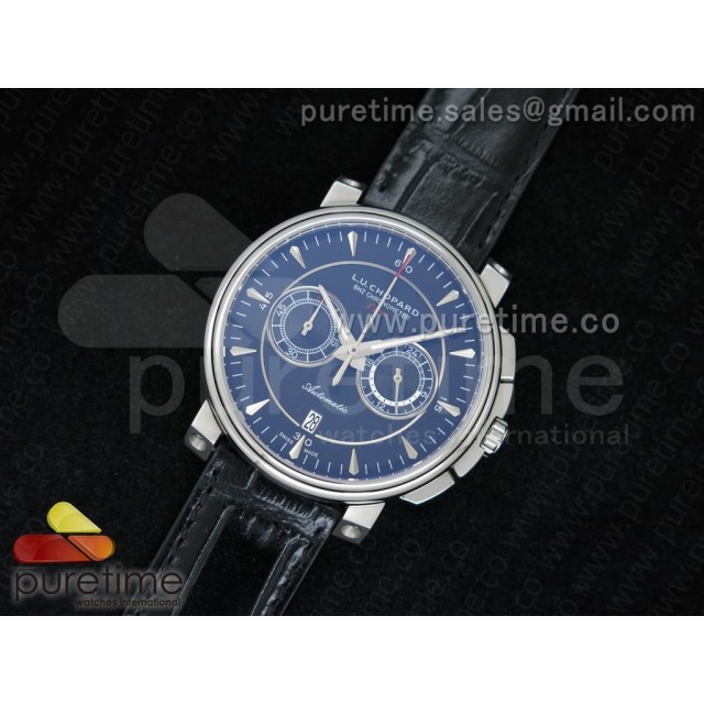 Cheap Discount Replica LUC 8HF Chrono SS Black Dial on Black Leather Strap JAP Quartz