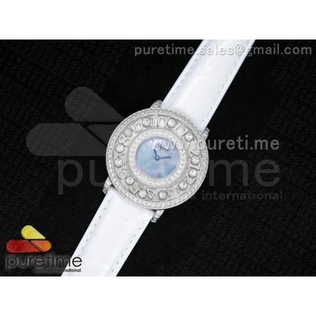 Cheap Discount Replica Happy Sport Diamonds SS Blue MOP Dial on White Leather Strap Swiss Quartz