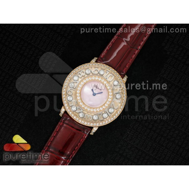 Cheap Discount Replica Happy Sport Diamonds RG Pink MOP Dial on Deep Red Leather Strap Swiss Quartz