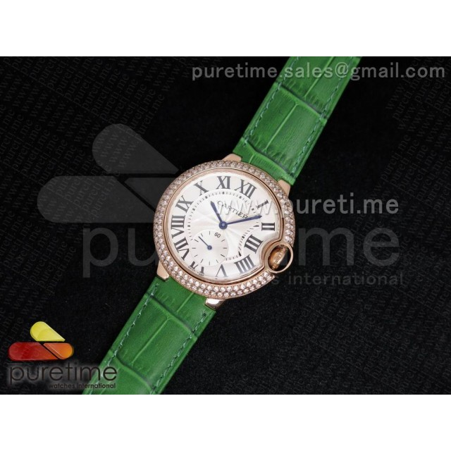 Cheap Discount Replica Ballon Bleu 36mm RG White Dial Full Paved Diamonds Bezel on Deep Green Leather Strap Jap Quartz