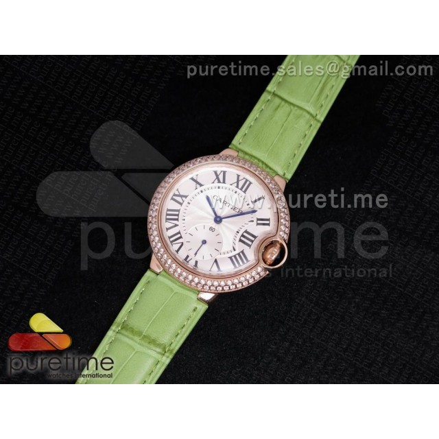 Cheap Discount Replica Ballon Bleu 36mm RG White Dial Full Paved Diamonds Bezel on Light Green Leather Strap Jap Quartz