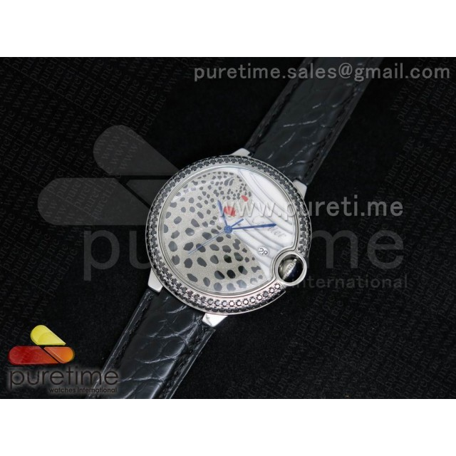Cheap Discount Replica Ballon Bleu 42mm SS Leopard Dial on Black Genuine Alligator Leather Strap A2824