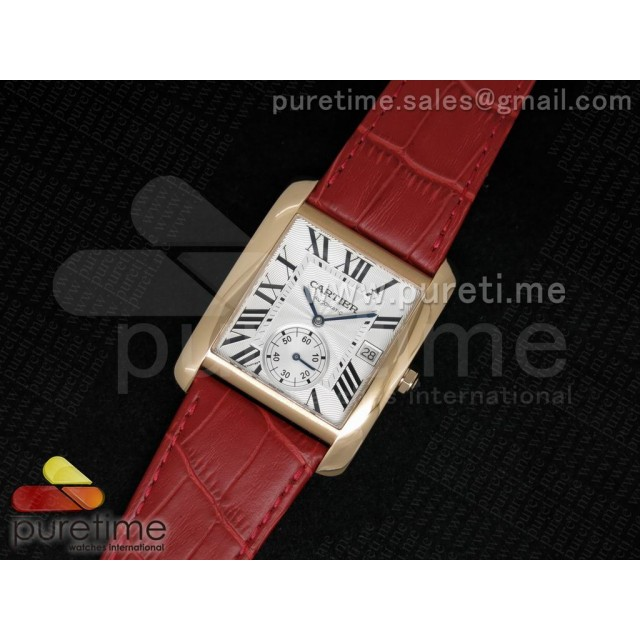 Cheap Discount Replica Tank MC RG White Textured Dial on Red Leather Strap A23J