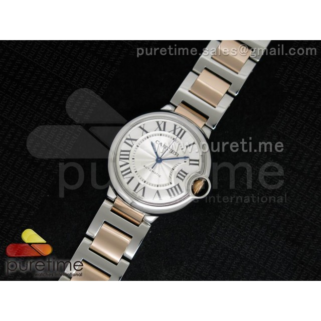 Cheap Discount Replica Ballon Bleu SS White Textured Dial on RG Wrapped SS Bracelet ETA2671