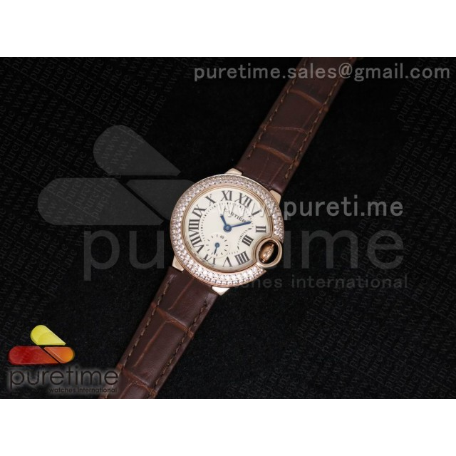 Cheap Discount Replica Ballon Bleu 29mm Ladies RG White Dial on Brown Leather Strap Ronda Quartz