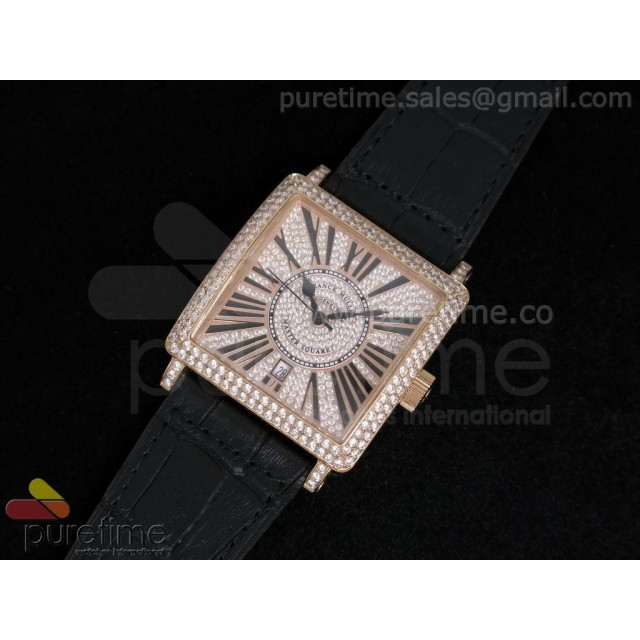 Cheap Discount Replica Master Square RG Diamond Dial on Black Leather Strap A2824