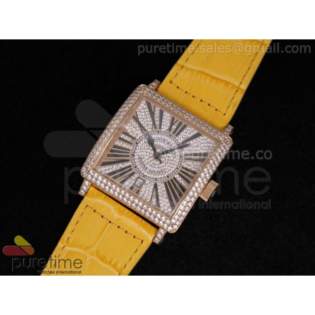 Cheap Discount Replica Master Square RG Diamond Dial on Yellow Leather Strap A2824