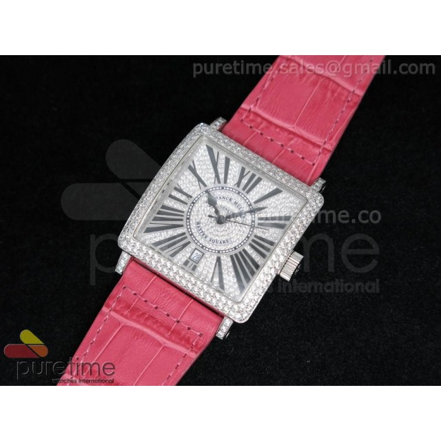 Cheap Discount Replica Master Square SS Diamond Dial on Shocking Pink Leather Strap A2824