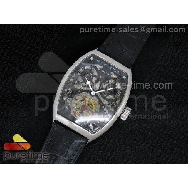 Cheap Discount Replica Thunderbolt Tourbillon SS Black Skeleton Dial on Black Leather Strap A23J