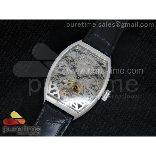 Cheap Discount Replica Thunderbolt Tourbillon SS Silver Skeleton Dial on Black Leather Strap A23J