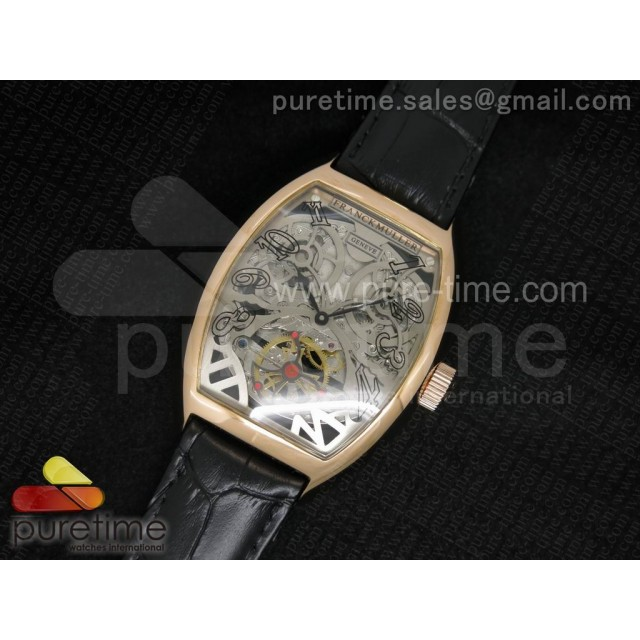 Cheap Discount Replica Thunderbolt Tourbillon RG Silver Skeleton Dial on Black Leather Strap A23J