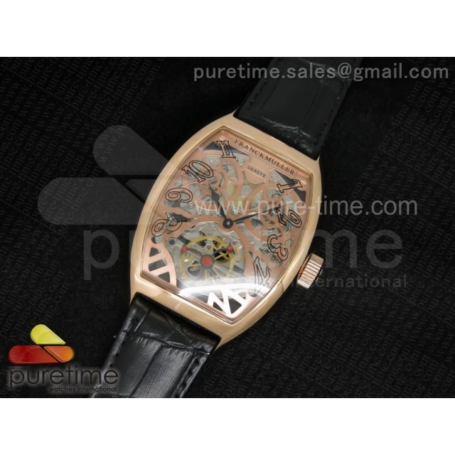 Cheap Discount Replica Thunderbolt Tourbillon RG Rose Gold Skeleton Dial on Black Leather Strap A23J