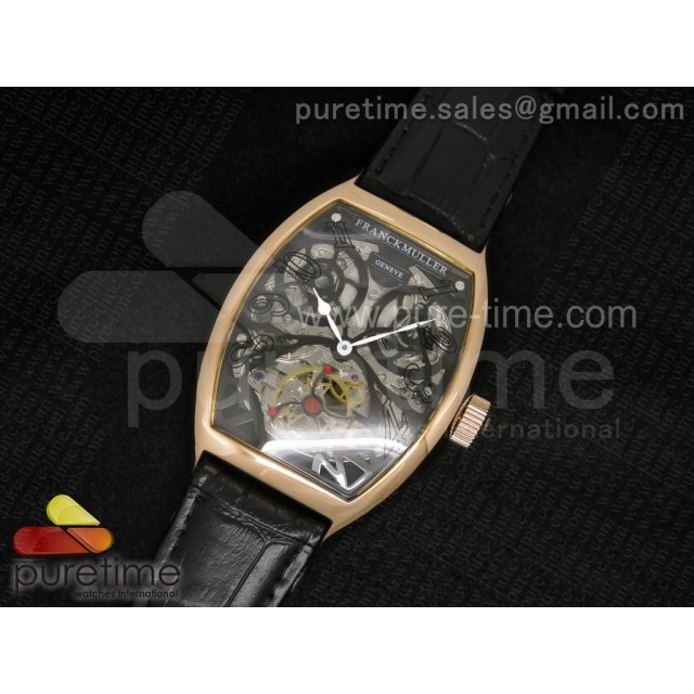 Cheap Discount Replica Thunderbolt Tourbillon RG Black Skeleton Dial on Black Leather Strap A23J