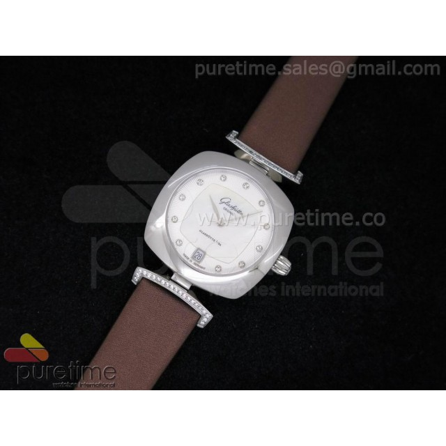 Cheap Discount Replica Pavonina SS White Dial on Brown Fabric Strap Ronda Quartz