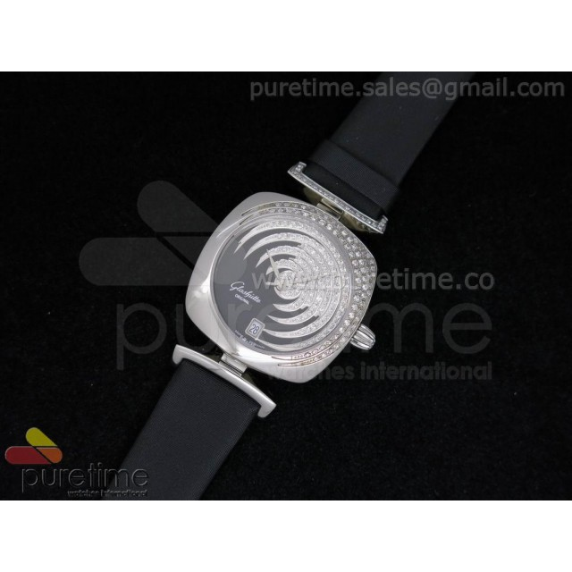 Cheap Discount Replica Pavonina SS Diamonds Black Dial on Black Fabric Strap Ronda Quartz