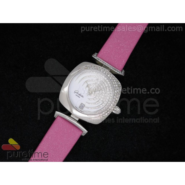 Cheap Discount Replica Pavonina SS Diamonds White Dial on Pink Fabric Strap Ronda Quartz