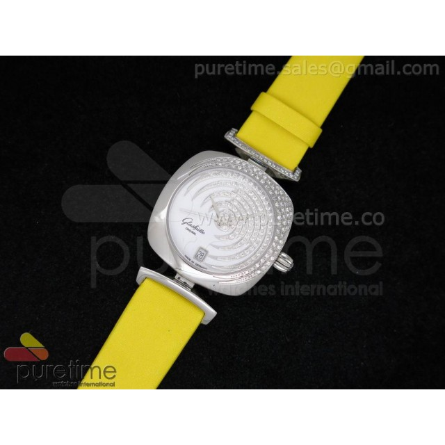 Cheap Discount Replica Pavonina SS Diamonds White Dial on Yellow Fabric Strap Ronda Quartz