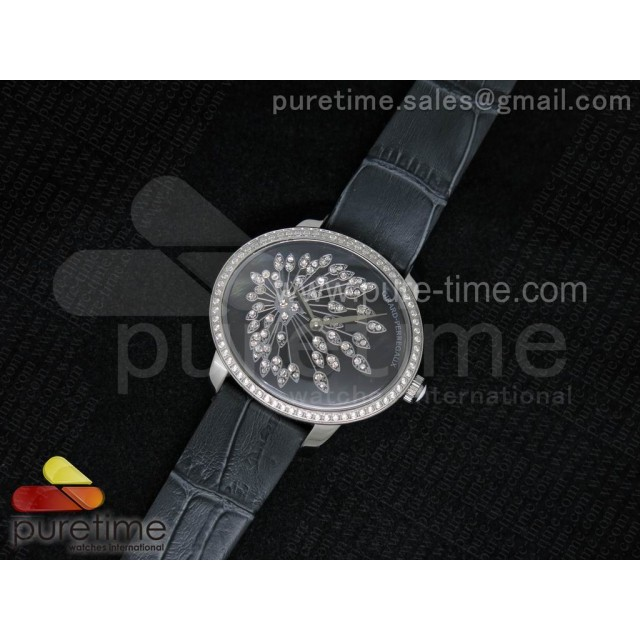 Cheap Discount Replica Cat's Eye SS Diamonds Bezel Black Dial on Gray Leather Strap RONDA Quartz
