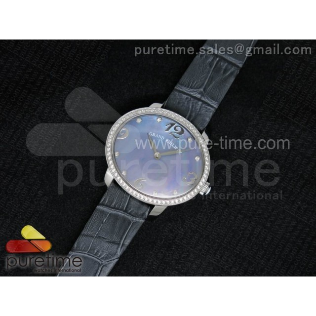 Cheap Discount Replica Cat's Eye SS Diamonds Bezel Purple MOP Dial on Gray Leather Strap RONDA Quartz