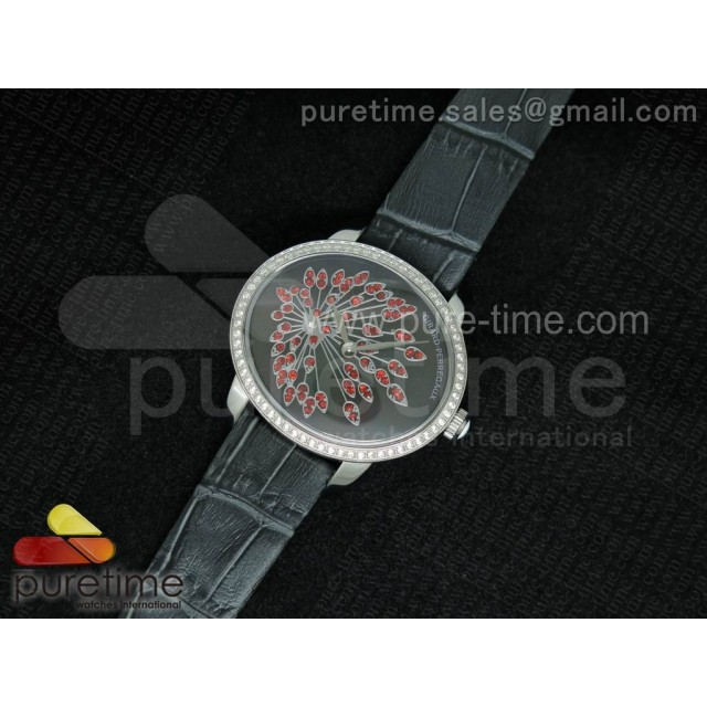 Cheap Discount Replica Cat's Eye SS Diamonds Bezel Gray Dial on Gray Leather Strap RONDA Quartz