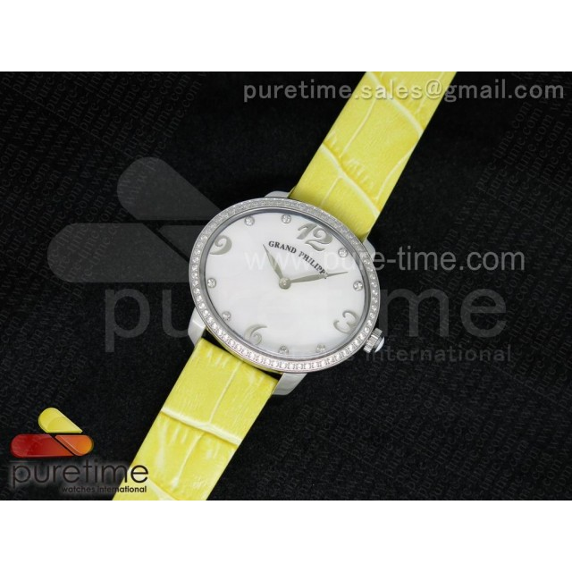 Cheap Discount Replica Cat's Eye SS Diamonds Bezel White MOP Dial on Yellow Leather Strap RONDA Quartz
