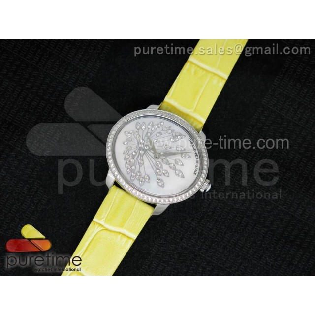 Cheap Discount Replica Cat's Eye SS Diamonds Bezel White Diamonds Dial on Yellow Leather Strap RONDA Quartz