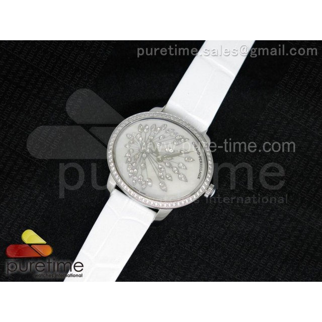 Cheap Discount Replica Cat's Eye SS Diamonds Bezel White Diamonds Dial on White Leather Strap RONDA Quartz
