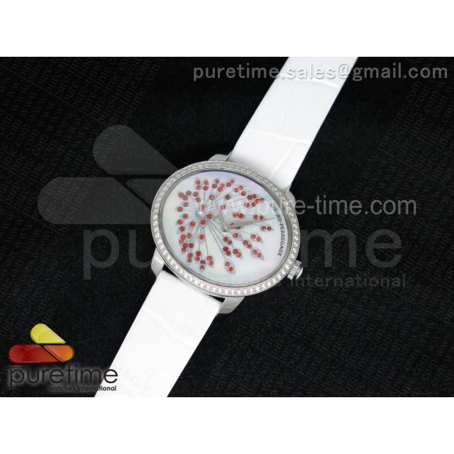 Cheap Discount Replica Cat's Eye SS Diamonds Bezel White Red Diamonds Dial on White Leather Strap RONDA Quartz