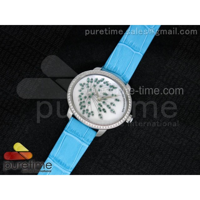 Cheap Discount Replica Cat's Eye SS Diamonds Bezel Green Diamonds White Dial on Sky Blue Leather Strap RONDA Quartz