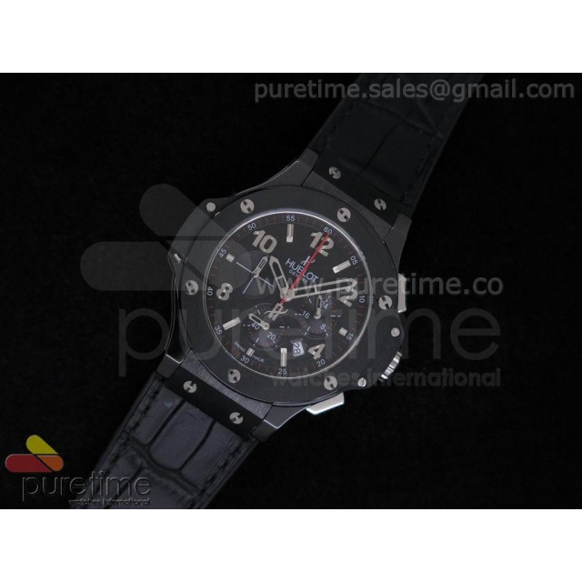 Cheap Discount Replica Big Bang 38mm Chrono Ceramic Black Dial with 3 Subdials on Black Gummy Strap JAP Quartz