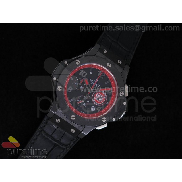 Cheap Discount Replica Big Bang 38mm Chrono Ceramic Black Dial with Red Inner Bezel on Black Gummy Strap JAP Quartz