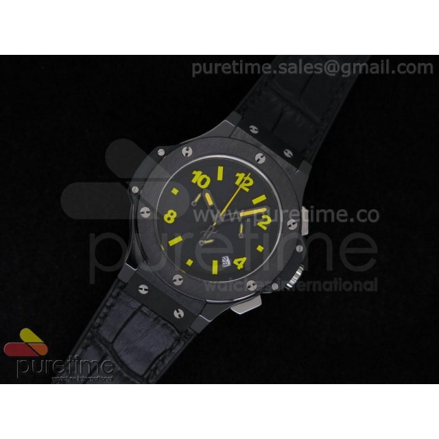 Cheap Discount Replica Big Bang 38mm Chrono Ceramic Black Dial Yellow Markers on Black Gummy Strap JAP Quartz