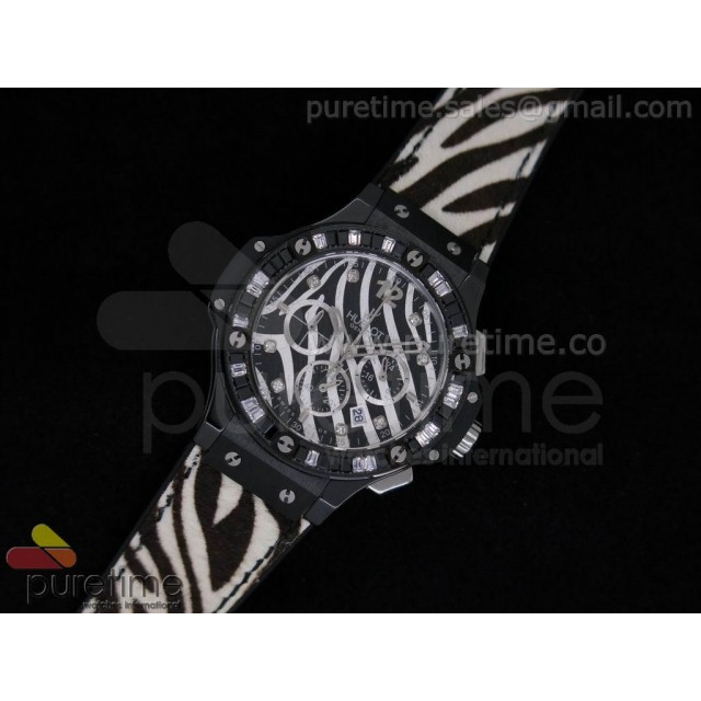 Cheap Discount Replica Big Bang 38mm Ladies Chron Black Ceramic Zebra Dial on Zebra Leather Strap JAP Quartz