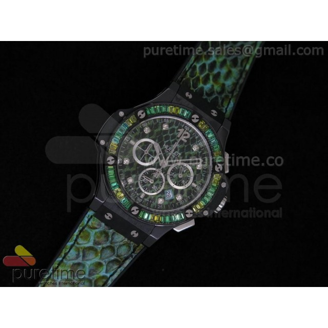 Cheap Discount Replica Big Bang 38mm Ladies Chron Black Ceramic Green Snakeskin Dial on Snakeskin Leather Strap JAP Quartz
