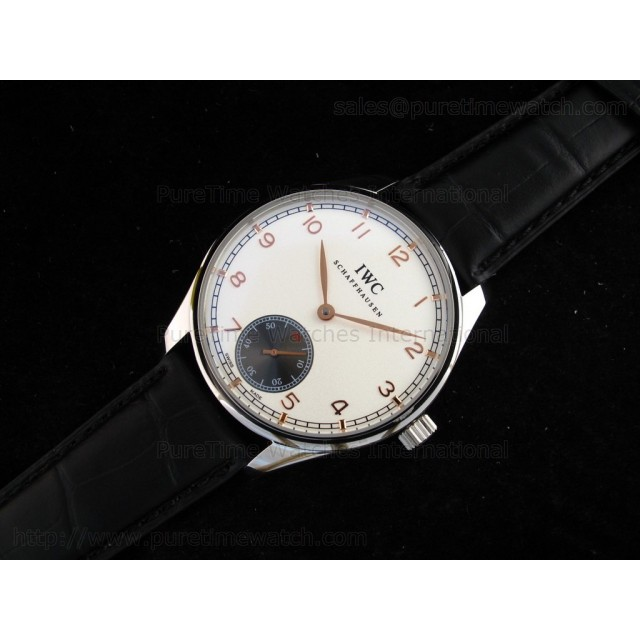 Cheap Discount Replica Portuguese Vintage SS White/Gold Dial on Black Leather Strap