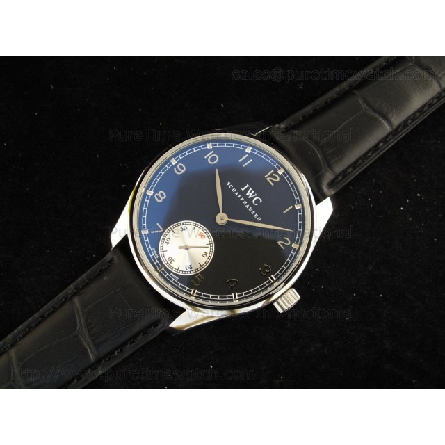 Cheap Discount Replica Portuguese Vintage SS Black/Silver Dial on Black Leather Strap
