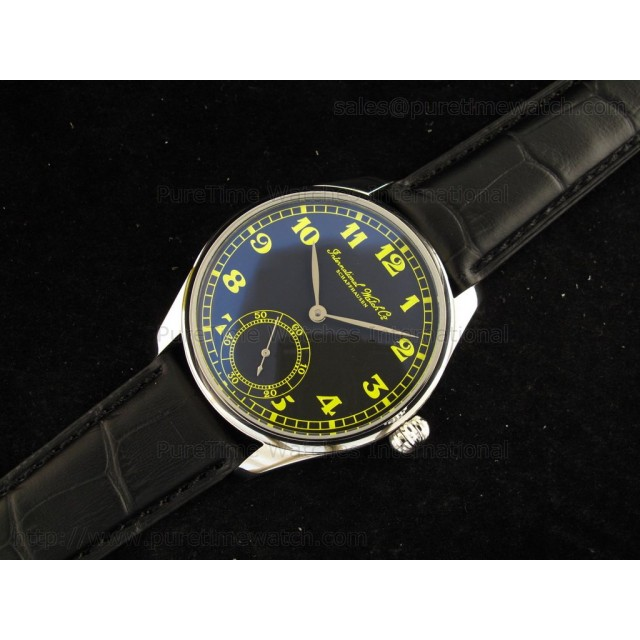 Cheap Discount Replica Portuguese Vintage SS Black/Green Dial on Black Leather Strap