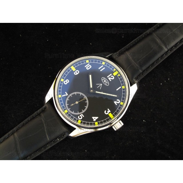 Cheap Discount Replica Portuguese Vintage SS Black/White Dial on Black Leather Strap