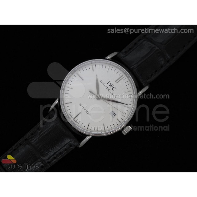 Cheap Discount Replica Portofino Automatic SS White Stick on Black Leather Strap A2892