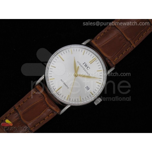 Cheap Discount Replica Portofino Automatic SS White RG Stick on Brown Leather Strap A2892