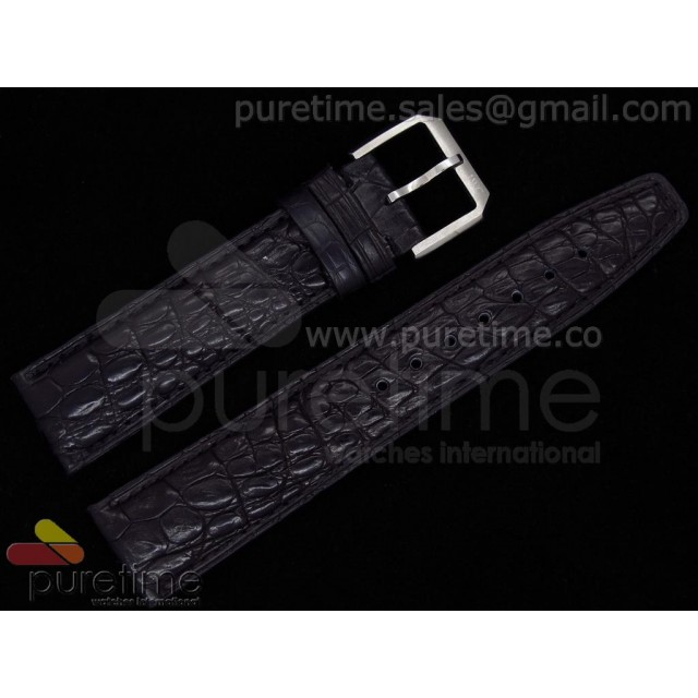 Cheap Discount Replica IWC 22mm Genuine Croco Leather Strap Black