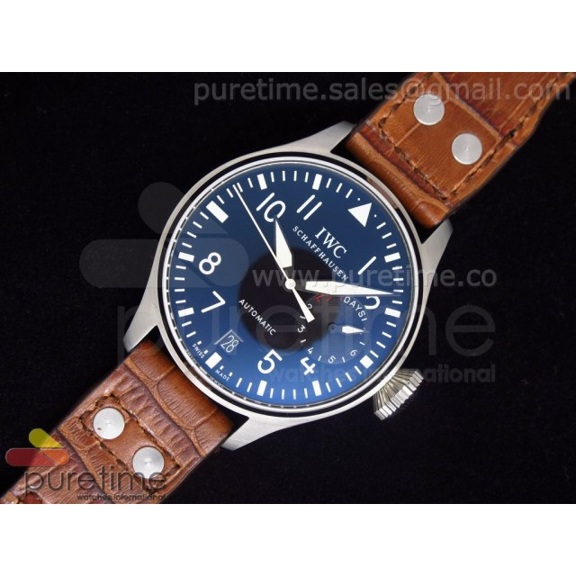 Cheap Discount Replica Big Pilot 5004 SS Black Superlumed Dial on Brown Leather Strap A25J