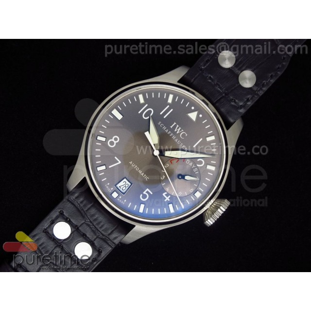 Cheap Discount Replica Big Pilot 5004 SS Grey Superlumed Dial on Black Leather Strap A25J