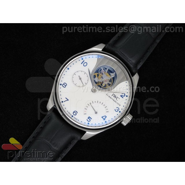 Cheap Discount Replica Portuguese Seagull Tourbillon Mystere White Dial on Black Leather