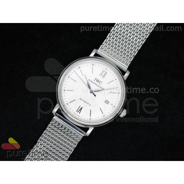 Cheap Discount Replica Portofino Automatic 39mm SS White Dial on SS Mesh Bracelet A2824
