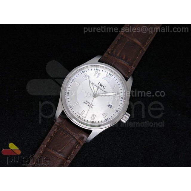 Cheap Discount Replica Pilot Automatic Mark 16 SS 39mm White Dial on Brown Leather Strap A2824