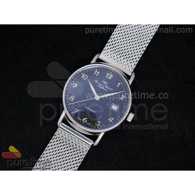 Cheap Discount Replica Portofino 39mm SS Black Dial Numeral Markers on SS Mesh Bracelet A2892